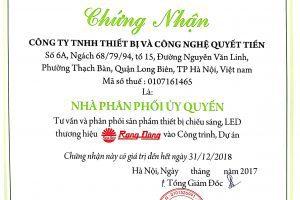 Phân phối ủy quyền đèn led Rạng Đông