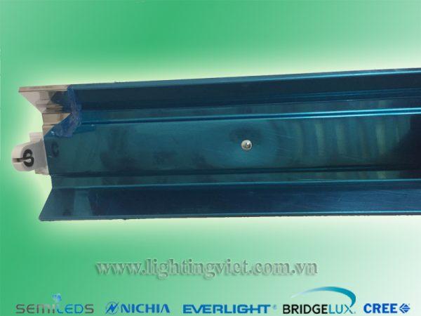 Máng đèn led chao đơn inox 1x1.2m