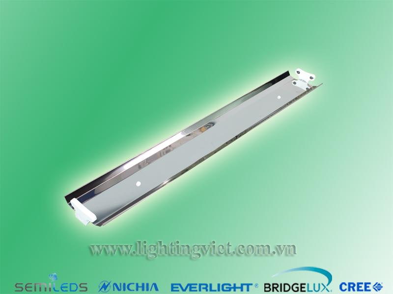 Máng đèn led chao đôi inox 2x1.2m