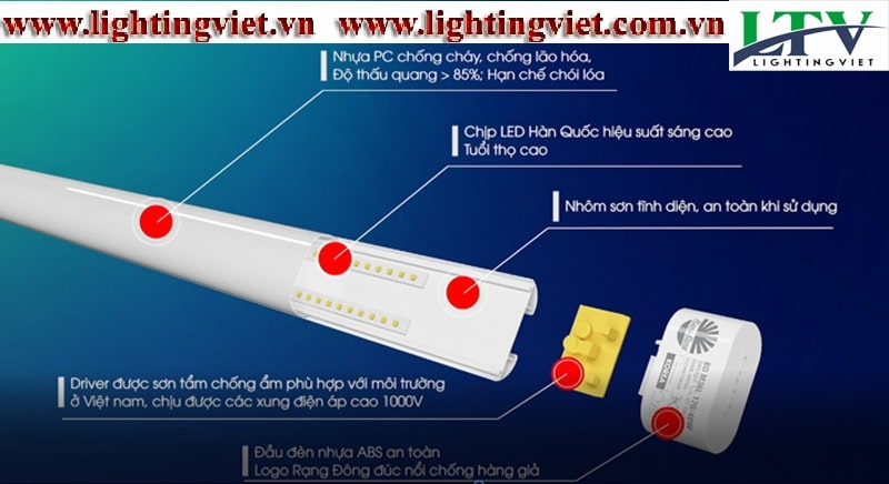 Đèn tuýp led bán nguyệt M36L Rạng Đông